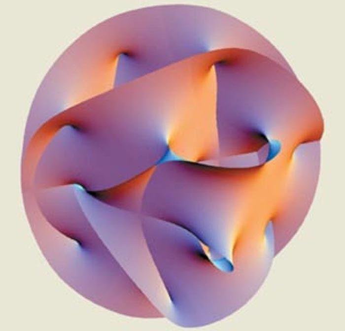 A existência de dimensões extras é explicado utilizando o colector de Calabi-Yau, na qual todas as propriedades intrínsecas das partículas elementares estão escondidos. Crédito: Um Hanson.